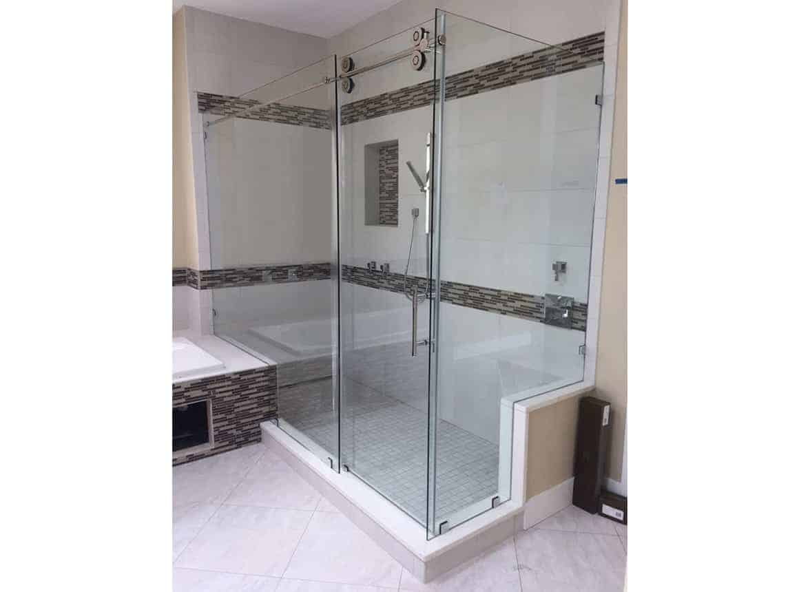 View of barn door style shower door